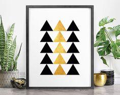 Printable Boho Art, Modern Art Prints, Gold Printable Art, Geometric Posters, Digital Artwork, Triangle Wall Decor, Bohemian Office Decor