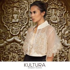 Look elegant in Filipiniana with intricate embroidery and a capelet that shows off contemporary flair! Taken by kulturafilipino on Tuesday July 2015 Modern Filipiniana Gown, Filipiniana Wedding, Wedding Gowns, Barong Tagalog For Women, Barong Tagalog Wedding, Filipino Wedding, Filipino Fashion, Philippines Fashion, Filipino Culture