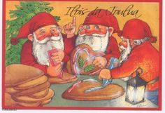 Priit Rea Swedish Christmas, Christmas Holidays, Christmas Greetings, Christmas Cards, Elves, Gnomes, Scandinavian, Santa, Parents