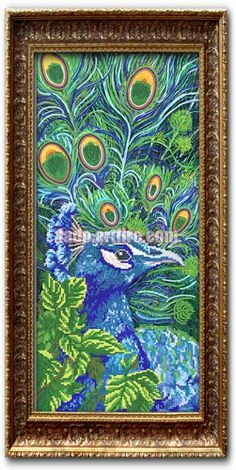 Peacock beaded embroidery wall decor, Unique Gift Idea DIY beading kit | Lado - Mixed Media on ArtFire
