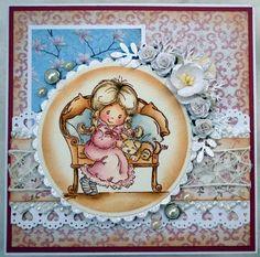 Annes lille hobbykrok: Stampavie, Girl card, Distress Ink