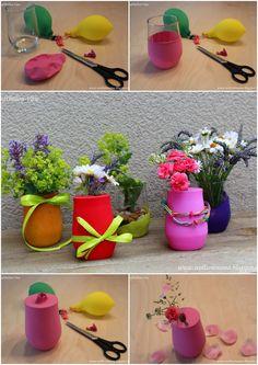 DIY bunte Luftballon-Vasen: kleine Tischdekoration schnell selber machen mit Luftballons und Gartenblumen - für Geburtstag und Gartenparty