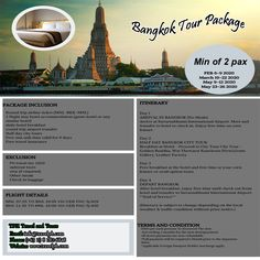 BANGKOK TOUR PACKAGE (With Round trip Airfare via Cebu Pacific) Minimum of 2 persons  For more inquiries please call: Landline: (+63 2) 8 282-6848 Mobile: (+63) 918-238-9506 or Email us: info@travelph.com #Bangkok #Thailand #TravelPH #TravelWithNoWorries Cebu Pacific, Airline Tickets, Round Trip, Stay The Night, Bangkok Thailand, Packaging, Tours, Day, Travel