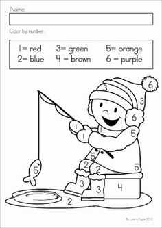 Kindergarten Winter Math Worksheets & Activities - Winter No Prep. A page from the unit: color by number