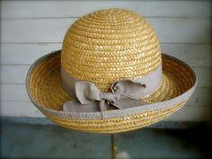 Vintage womens straw Hat little girls hat hats by ThinkOldThinkNew, $20.00
