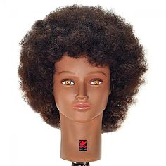"Image 1 - Jordan 16"" Afro Style Black 100% Human Hair Cosmetology Mannequin Head by Giell at Giell.com"