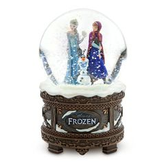 "Disney Store Frozen Anna, Elsa and Olaf Musical Snowglobe plays ""Let It Go"""