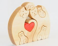 Wood Puzzle Family Cat Loving Parents. Wood handmade от Ecopuzzle