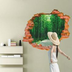 60*90cm tree-lined trail 3d wall stickers Home decor living room removable pvc waterproof wall sticker poster adesivo de parede