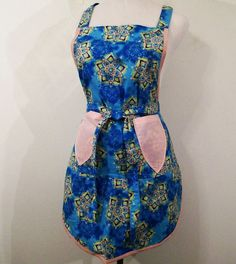 Women's  Full Apron Blue Kaleidscope READY TO by Barb70CraftShop (Accessories, Apron, Full, barb70craftshop, women, home and living, womans apron, gift ideas, womens apron, gift for mom, mothers day apron, kitchen apron, womans full apron, blue full apron, floral apron, special occasion)