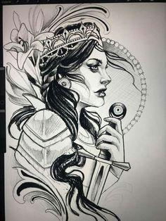 Girl Face Tattoo, Girl Face Drawing, Face Tattoos, Sleeve Tattoos, Neo Tattoo, Dark Tattoo, Tattoo Sketches, Tattoo Drawings, Tattoo Guerreiro