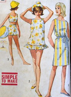 Vintage Dress, Bra, Shorts, Top, and Hat Sewing Pattern Simplicity 4494 Teens' Size 8 Bust 28 inches Complete – 2019 - Vintage ideas Hat Patterns To Sew, Simplicity Sewing Patterns, Dress Sewing Patterns, Vintage Sewing Patterns, Clothing Patterns, Pattern Ideas, Robes Vintage, Vintage Clothing, Vintage Dresses