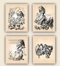Art Decorative arts Wall Hangings Alice in Wonderland, set of 4 prints, childrens wall art. $44.00, via Etsy.
