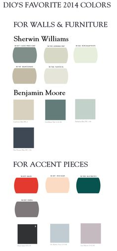 Full 2014 Color Trends from Sherwin Williams & Benjamin Moore with Dio's favorites!