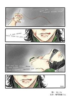 Loki, with lips sewn shut. Silencing the infamous Silver Tongue