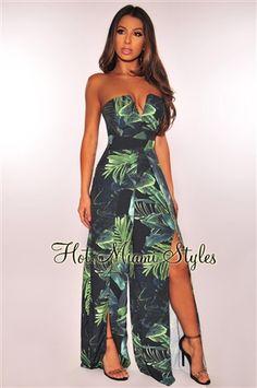 07823d702a9 Black Green Palm Print Strapless Slit Palazzo Jumpsuit