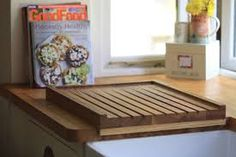 Wooden draining boards from MakeMeSomethingSpecial - the UK's provider of personalised wooden gifts. View the wooden draining boards. Happy Kitchen, New Kitchen, Kitchen Ideas, Kitchen Design, Kitchen Worktop, Kitchen Sink, Kitchen Storage, Belfast Sink Draining Board, How To Wash Vegetables