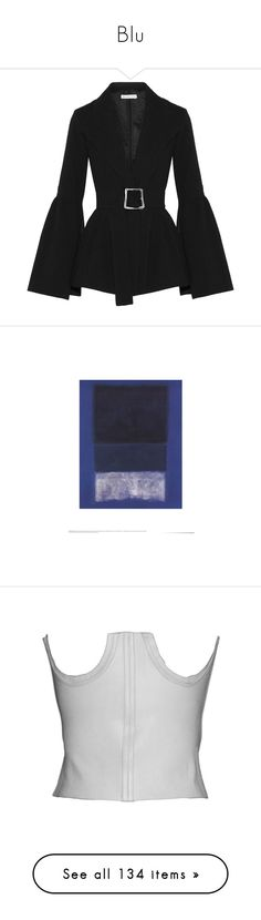 """Blu"" by stonedangel ❤ liked on Polyvore featuring outerwear, jackets, blazers, tops, coats, peplum jacket, cinch jackets, peplum blazer, belted jacket and peplum blazer jacket"