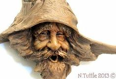 ORIGINAL WOOD SPIRIT CARVING MAGICAL BARNACLE DRIFTWOOD WIZARD OOAK NANCY TUTTLE