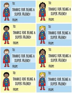 Free Printable Valentine's Day Cards for Kids! — Buck and Libby Superhero cards Thanks for Being a Super Friend!