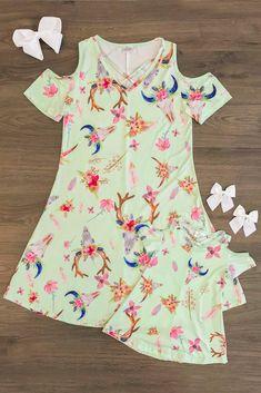590d8809608 Mom   Me - Floral Antler Open Shoulder Dress Southern Baby