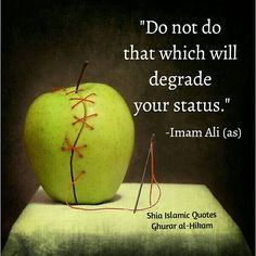 Just don't do anything that will degrade your status . Imam ALI a.s  quotes for life so helpful