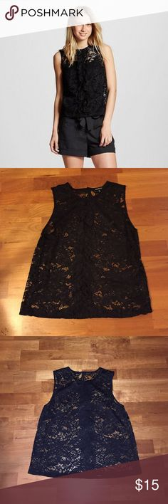 FLASH SALE NWOT Lace Ruffle Shell Black Lace Ruffle Shell by Who What Wear in size M. NWOT, only tried it on but stupidly tossed the tags first. Perfect condition. Who What Wear Tops Tank Tops