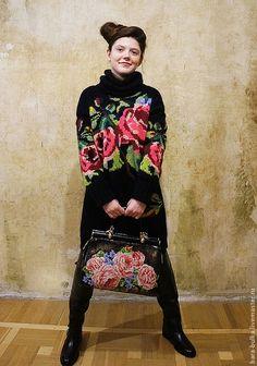 Свитер с розами - чёрный,цветочный,интарсия,розы,туника вязаная,свитер с розами