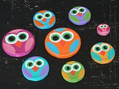 Owl Craft Using Recycled Jar Lids from Amanda Formaro of Crafts by Amanda