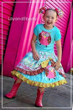 Custom design owl applique and double layered twirl skirt.  Pictures by SweetToes.