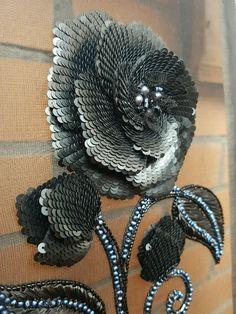 Купить Fleur de nuit ( ночной цветок) - вышивка, стильный аксессуар