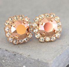 Rose Gold Earrings Rose Gold Swarovski CrystalsBridesmaids