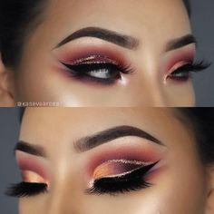 glitter crease | glitter cut crease | makeup inspo | #makeup | fall eye look | fall makeup