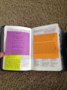 how to print on sticky notes - great for scripture inserts!
