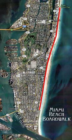 Miami Beach Boardwalk Map 10 blocks is about 1 mile South Miami, South Beach, Miami Beach, Tampa Florida, Florida Travel, Places In Florida, Florida Keys, Miami Map, Miami Art Deco
