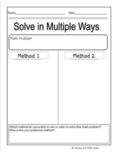 """Free Template~Solve Math Problems in Multiple Ways---could also do--left side """"my attempt"""" right side """"the answer"""" to show effort versus actual Math Teacher, Math Classroom, Teaching Math, Teaching Tools, Teaching Ideas, Fourth Grade Math, First Grade Math, Sixth Grade, Second Grade"""