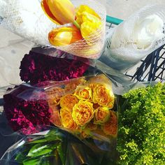 LIVING // Fresh arrangements coming your way in a bit. I should never be allowed into Central Market!  #style #expression #living #home #homedecor #homedesign #lifestyle #life #flowers #florals #floral #photooftheday #photo #nature #freshflowers #flowerarrangement #decor #decorating #luxe #tulips #carnations #yellow