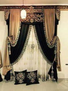 Old World formal draperies. layered black and gold with tassel trim and tassel tiebacks. message DesignNashville for service Curtains Living, Drapes Curtains, Hanging Curtains, Bedroom Curtains, Bedroom Decor, Victorian Curtains, Victorian Windows, Victorian Window Treatments, Rideaux Design