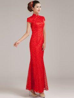 Red Lace Fishtail Cheongsam / Qipao / Chinese Wedding Dress