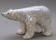 Raku polar bear by Dragonfly Pottery