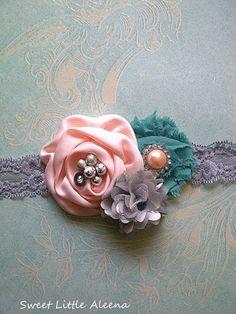 Peach Mint Silver Fancy Flower Infant Headband,Hair Bows,Baby Girls Womens Clip,Newborn Photo Prop