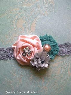 Peach Mint Silver Fancy Flower Infant Headband,Hair Bows,Baby Girls Womens Clip,Newborn Photo Prop