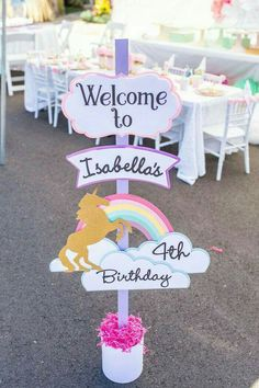 party ideen Gloriousness abounds in this Magical Unicorn Birthday Party at Kara's Party Ideas. Don't miss the photos and details right here! Unicorn Themed Birthday Party, Unicorn Birthday Parties, First Birthday Parties, First Birthdays, 4th Birthday, Birthday Signs, Birthday Celebration, Unicorn Birthday Invitations, Birthday Cakes
