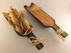 Repurposed Wine Bottle Serving Tray - Recycled Wine Planter - Wine Bottle Garden - 2 Halves / 1 Complete Bottle - GREEN