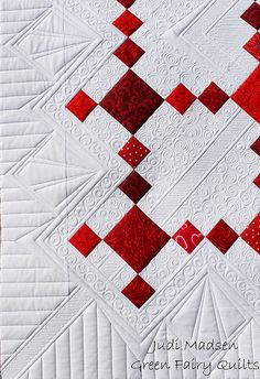 Closeup detail - Uneven Nine Patch pattern, quilted by Judi Madsen of Green Fairy Quilts Cover of Linda Baxter Lasco's new book - Red, White & Quilted!