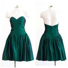 1980s strapless green iridescent fit and flare party dress by TimeTravelFashions…