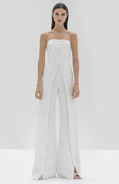 Strapless pinstripe jumpsuit with front slits down the pant leg. Striped Jumpsuit, Formal Dresses, Wedding Dresses, One Shoulder Wedding Dress, Fitness Models, Legs, Coat, Skirts, Jackets