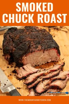 This smoked chuck roast is cheaper than prime rib, easier to get along with than brisket and it is a whole lot easier to come by in the grocery store. - Smoked Chuck Roast {A Step-by-step Guide Smoked Beef Roast, Smoked Chuck Roast, Smoked Ribs, Bbq Roast Beef, Brisket Meat, Beef Chuck Roast, Smoked Chicken, Beef Tenderloin, Recipes