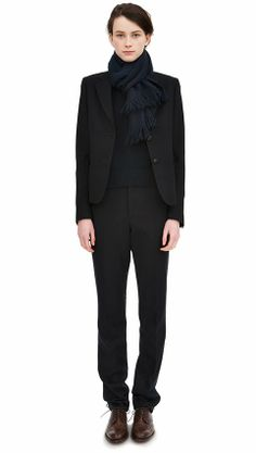 masculine suit + scarf + oxfords + sweater