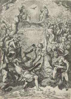 Cornelis Cort | Triomf van de Heilige Drieëenheid (La Gloria), Cornelis Cort, unknown, 1566 | De Heilige Drieëenheid middenboven in de wolken: God als zittende oude man met wereldbol, Christus als zittende man met wereldbol, de Heilige Geest in de gedaante van een duif. Engelenkoren en figuren uit het Oude Testament aanbidden de Drieëenheid. Middenonder Noach met de ark in zijn handen en Mozes met de stenen tafelen.